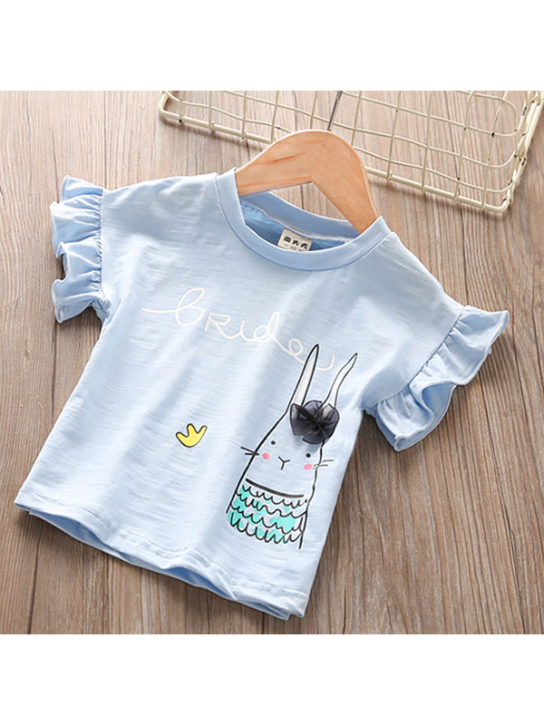 【18M-7Y】Girls' Round Neck Short-sleeved Wooden Ear Print T-shirt Top