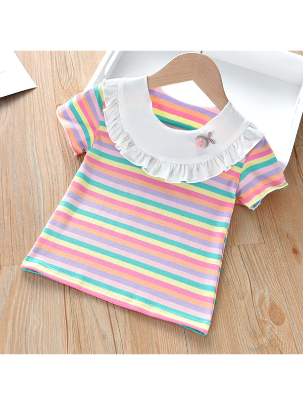 【18M-7Y】Girls Short Sleeve Round Neck Striped T-shirt Top With Wooden Ears