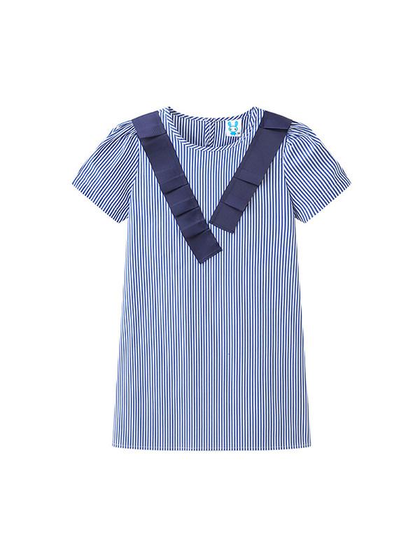 【18M-9Y】Girls Striped Puff Short Sleeve Sleeve Dress