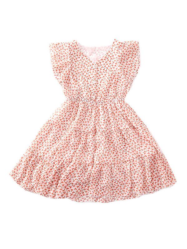 【3Y-13Y】Girls Floral Flying Sleeve Chiffon Dress