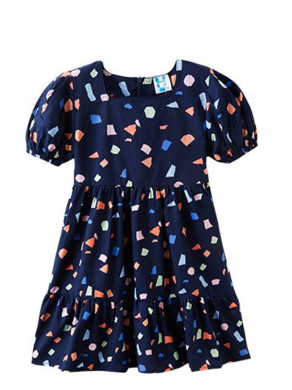 【3Y-13Y】Girls Geometric Print Puff Sleeve Square Neck Waist Dress