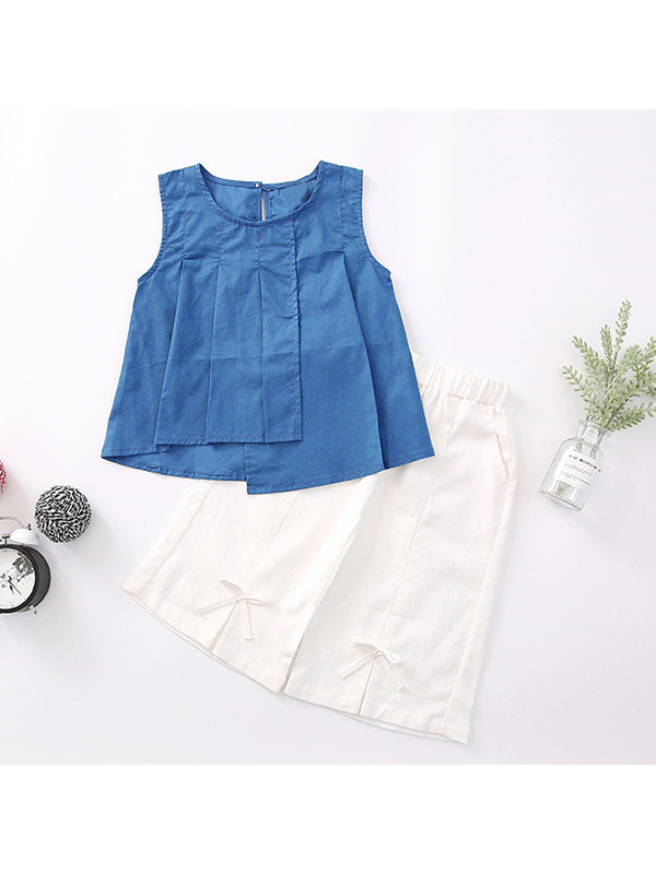 【3Y-13Y】Girls Pleated Round Neck Sleeveless Top With Chiffon Wide-leg Pants Two-piece Suit