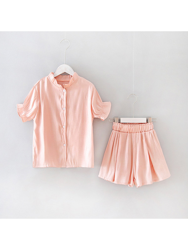 【4Y-13Y】Fashion Two-piece Set Of Girl's Blouse And Shorts