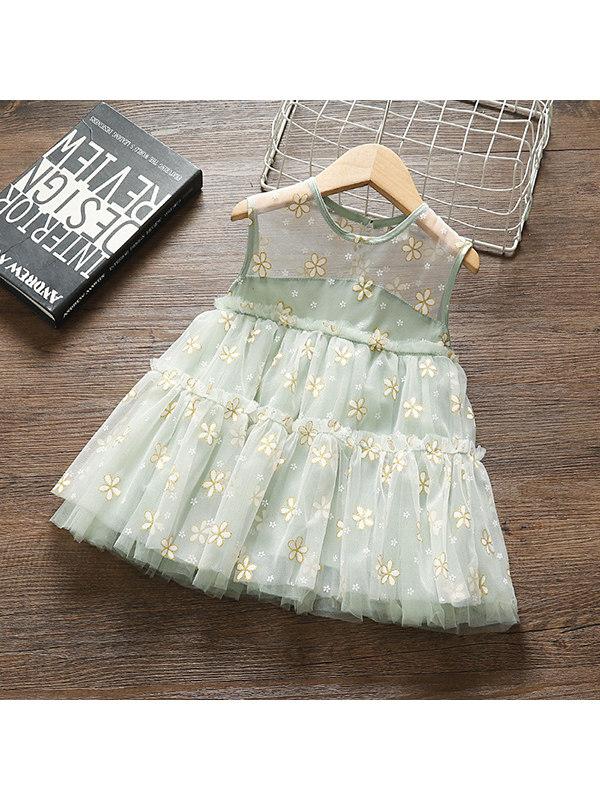 【12M-4Y】Girls' Small Floral Mesh Stitching Sleeveless Dress