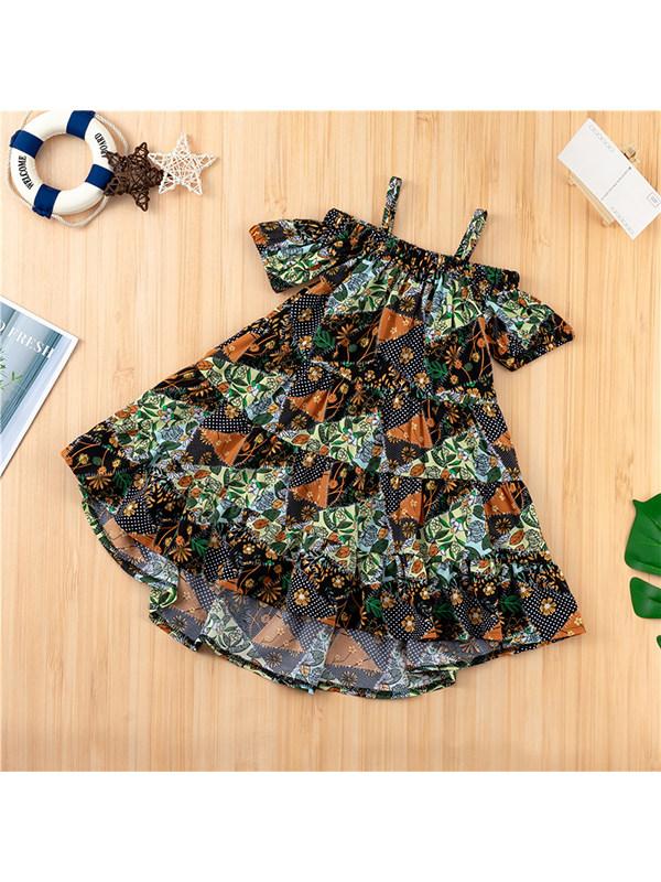 【18M-7Y】Girls' Printed Sling Short Sleeve Off-the-shoulder Dress