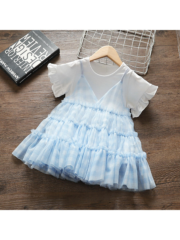 【12M-4Y】Girls Short-sleeved Mesh Light Blue Two-piece Princess Dress