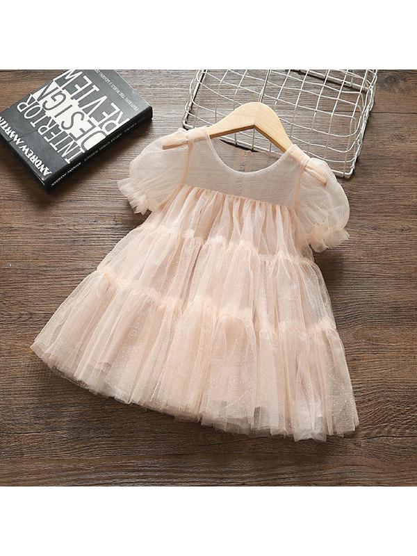 【12M-5Y】Girls' Solid Color Mesh Short-sleeved Princess Dress