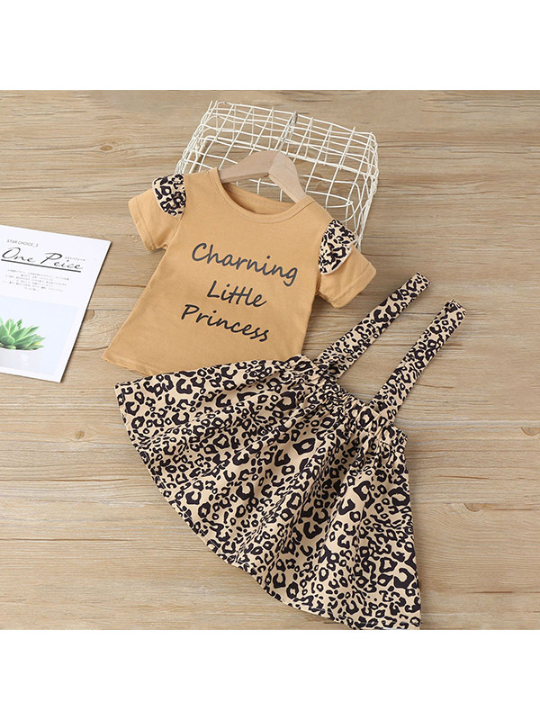【18M-7Y】Girls Short Sleeve Round Neck Letter Print T With Leopard Print Suspender Skirt Suit