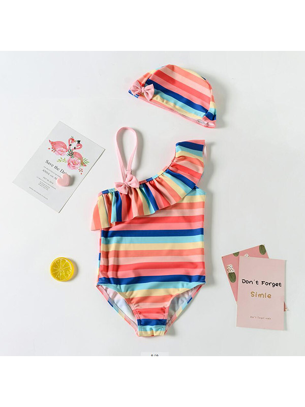 【18M-7Y】Girls One-shoulder Rainbow Striped One-Piece Swimsuit