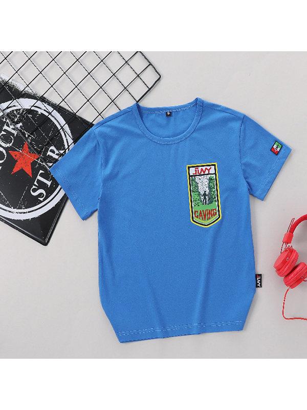 【6Y-15Y】Boys Trend Print Short Sleeve T-shirt
