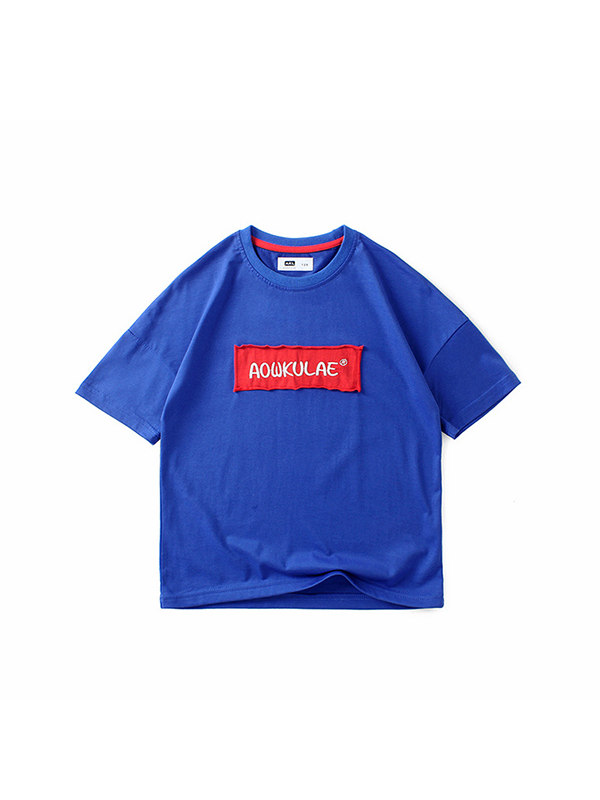 【4Y-13Y】Boys Printed Letter Patch Short Sleeve T-shirt