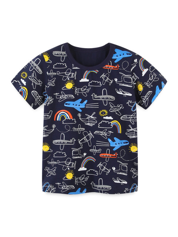 【18M-9Y】Boys Round Neck Print T-shirt Knitted Cotton Cartoon Top