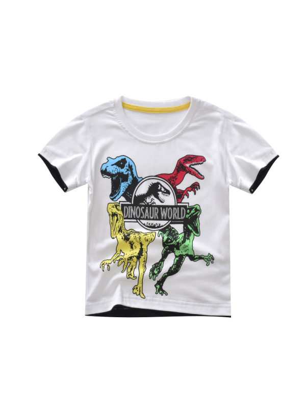 【18M-9Y】Boys Printed Dinosaur Cotton Short-sleeved T-shirt