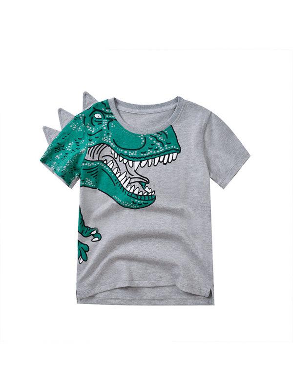 【3Y-13Y】Boys Dinosaur Print Short Sleeve T-shirt