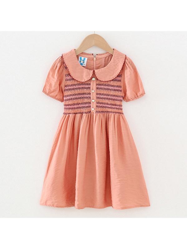 【3Y-13Y】Sweet Orange Pink Short Sleeve Dress