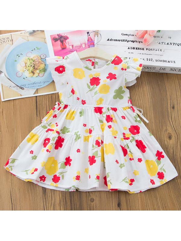 【12M-5Y】Sweet Floral Print Round Neck Short Sleeve Dress