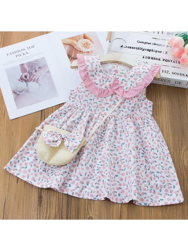 【12M-5Y】Sweet Floral Print Ruffled Collar Sleeveless Dress