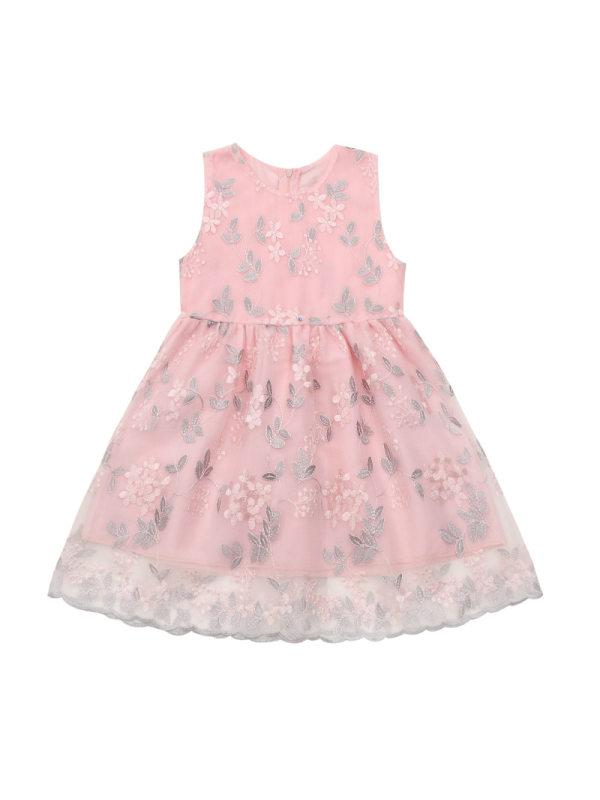 【3Y-13Y】Girls Fresh Sweet Mesh Embroidered Sleeveless Dress