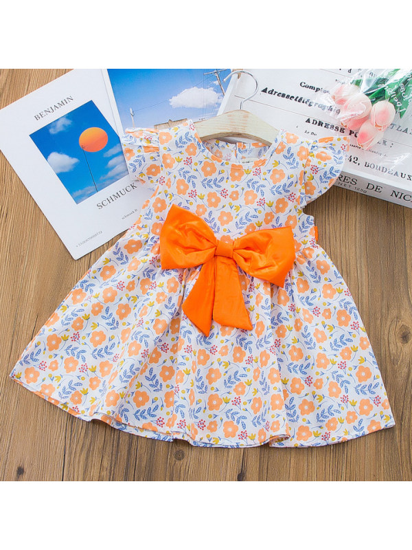【12M-5Y】Sweet Flower Print Round Neck Short Sleeve Bow Dress