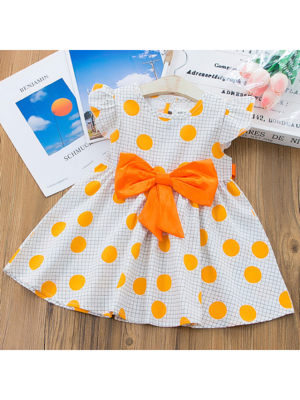【12M-5Y】Sweet Polka Dot Print Round Neck Short Sleeve Bow Dress