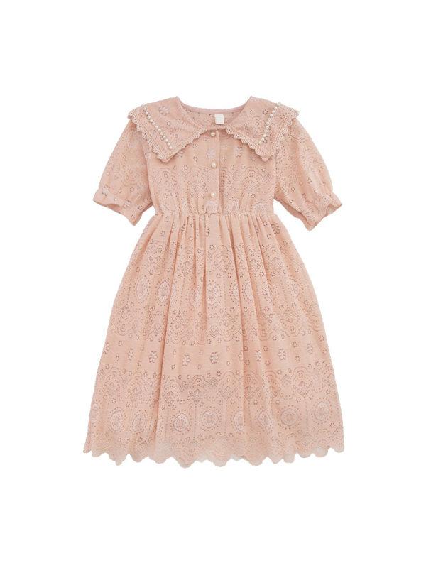 【3Y-13Y】Girls Fresh Sweet Lapel Lace Short-sleeved Dress