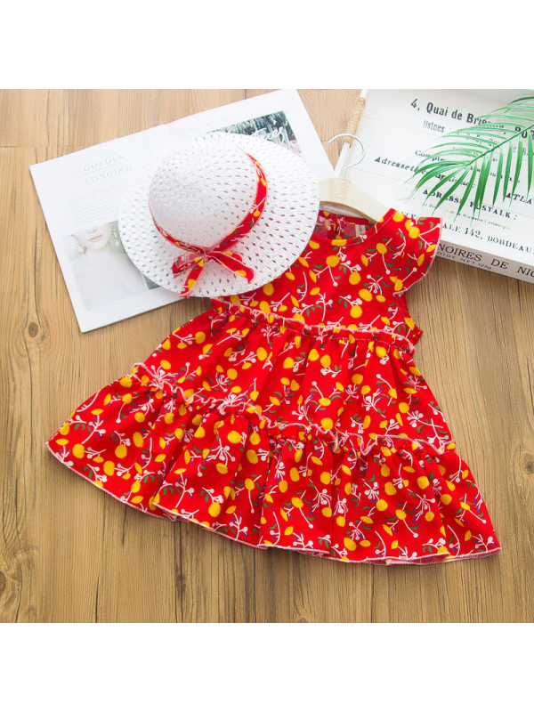 【2Y-7Y】Sweet Print Round Neck Dress With Hat - 33113