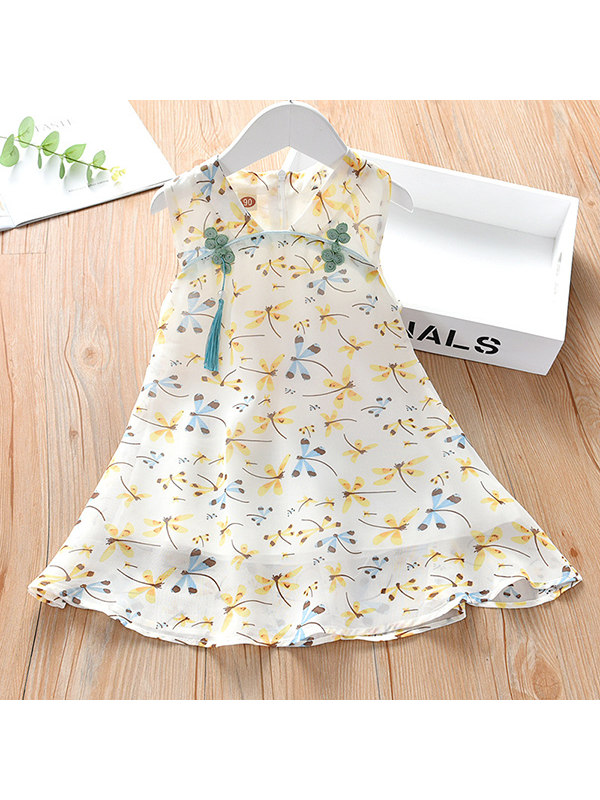 【18M-7Y】Girls Retro Plate Button Small Dragonfly Sleeveless Chiffon Dress