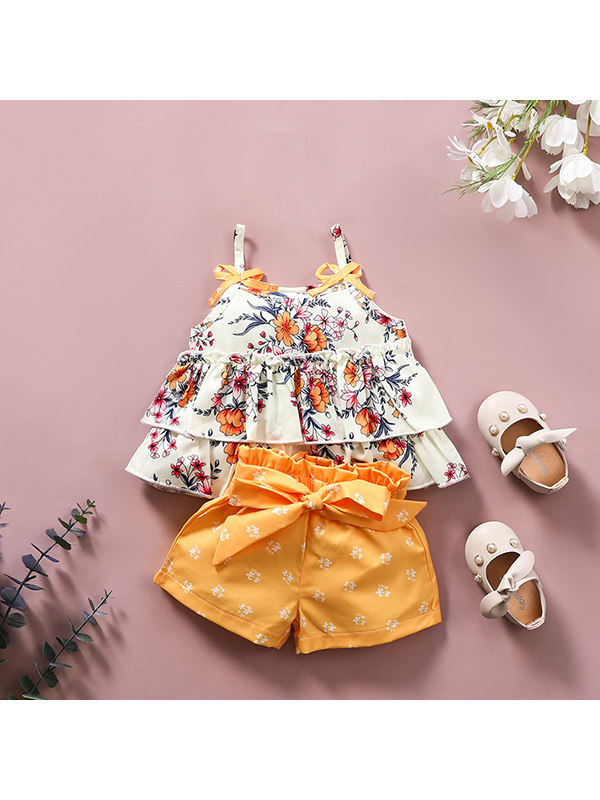 【18M-7Y】Girls Bowknot Sling Skirt Two-Piece Set