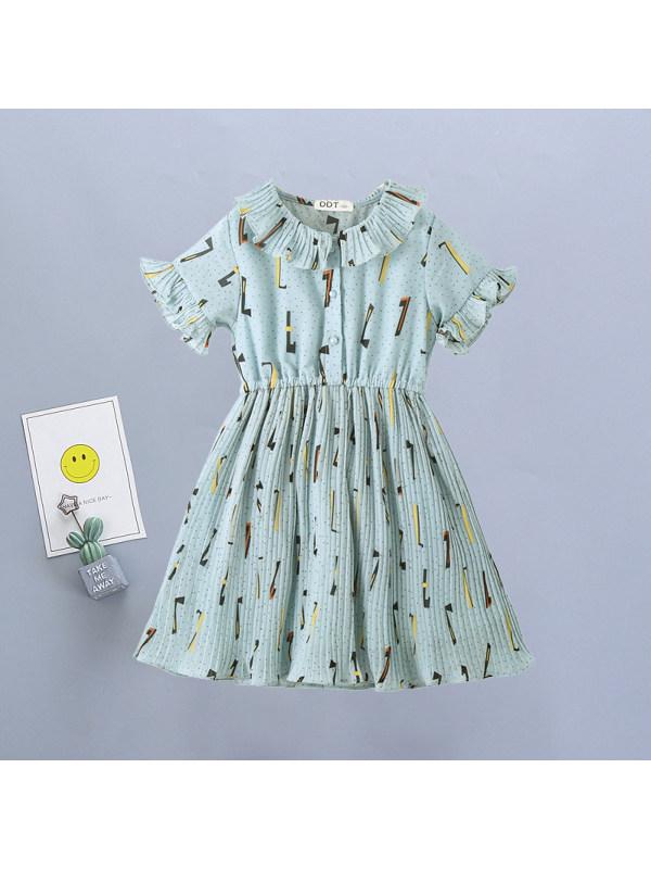 【3Y-11Y】Girls Fresh Sweet Letters Print Chiffon Short-sleeved Dress