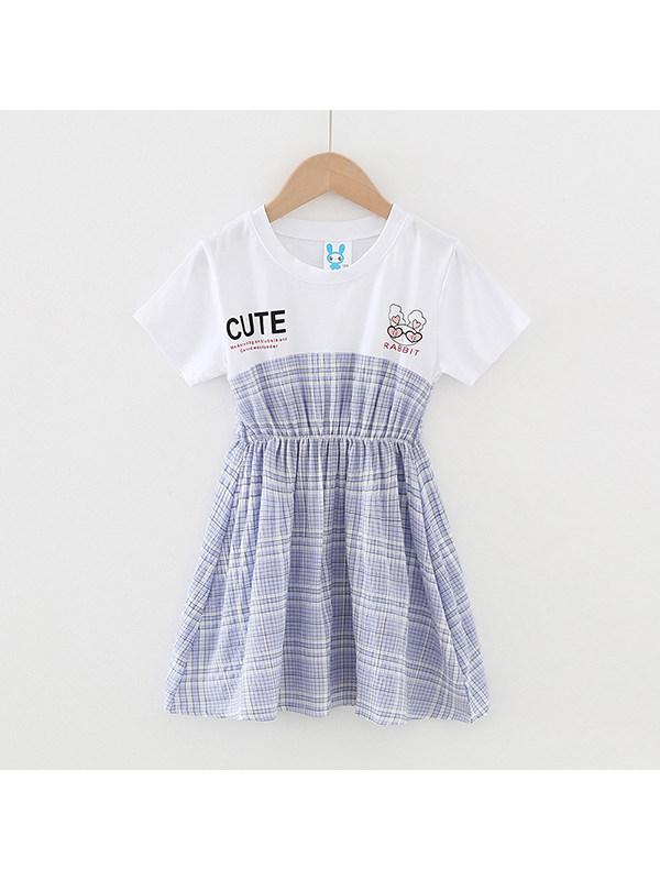 【4Y-13Y】Girls Round Neck Short Sleeve Plaid Stitching Cartoon Print Dress