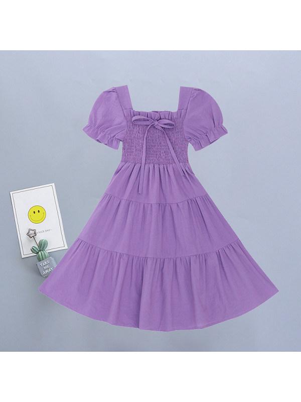 【3Y-11Y】Girls Sweet Square Neck Puff Sleeve Dress