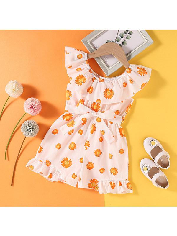 【18M-7Y】Girls Sweet Lotus Leaf Collar Sleeveless Printed Jumpsuit