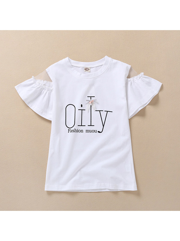 【4Y-13Y】Girls Net Yarn Stitching Cotton Letter Printed T-shirt