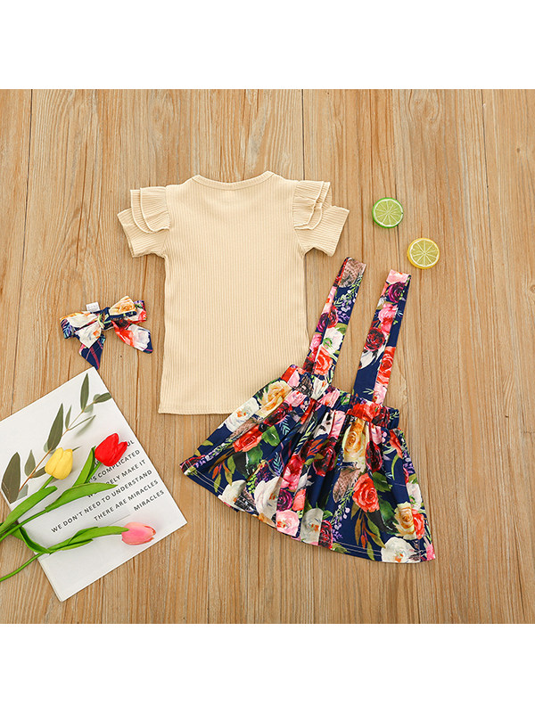 【12M-5Y】Girls Short-sleeved Pit Striped Flower with Suspender Skirt and Hair Band Suit