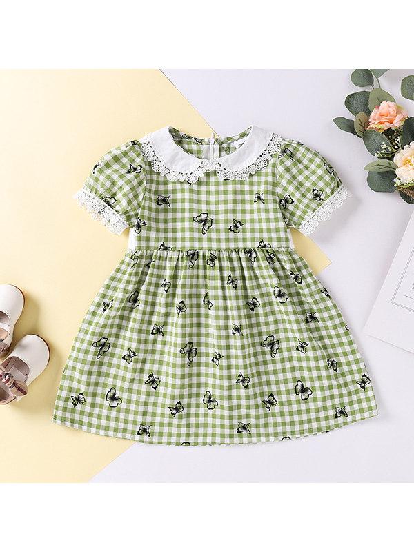【18M-7Y】Girls Plaid Doll Collar Butterfly Print Dress