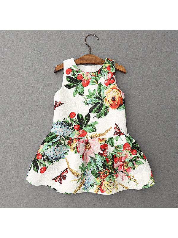 【18M-9Y】Girls Butterfly Print Sleeveless Dress