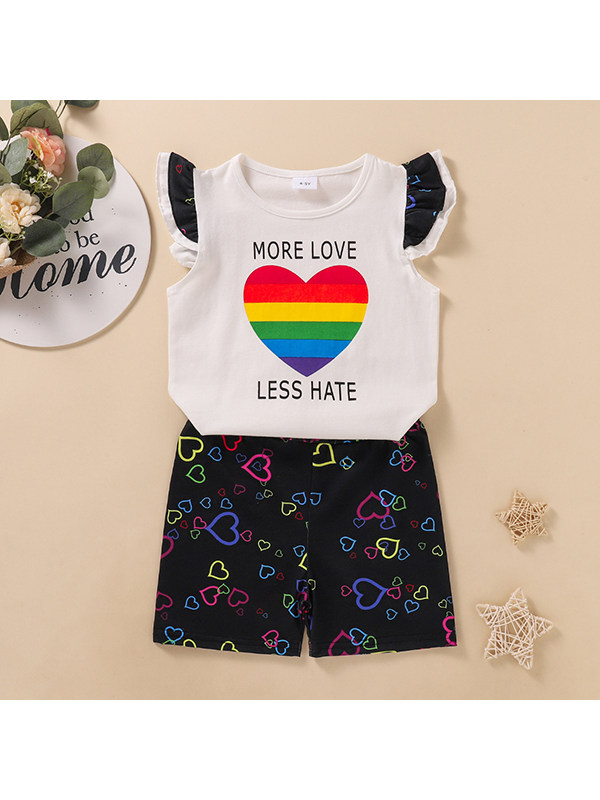 【3Y-11Y】Girls Round Neck Flying Sleeve Heart Shape Rainbow Top Full Printed Pants Two Piece Set