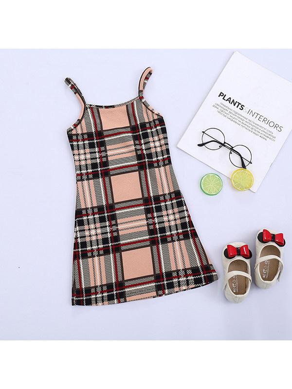 【18M-7Y】Girls Sleeveless Plaid Sling Dress