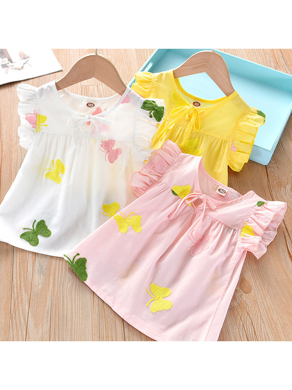 【18M-9Y】Girls Short-sleeved Embroidered Shirt