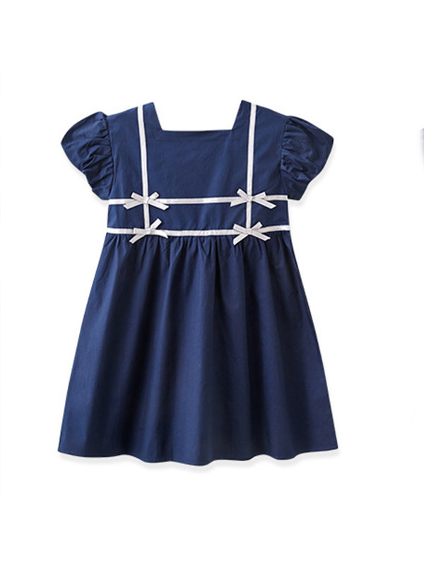 【3Y-13Y】Girls Square Neck Ribbon Puff Sleeve Dress