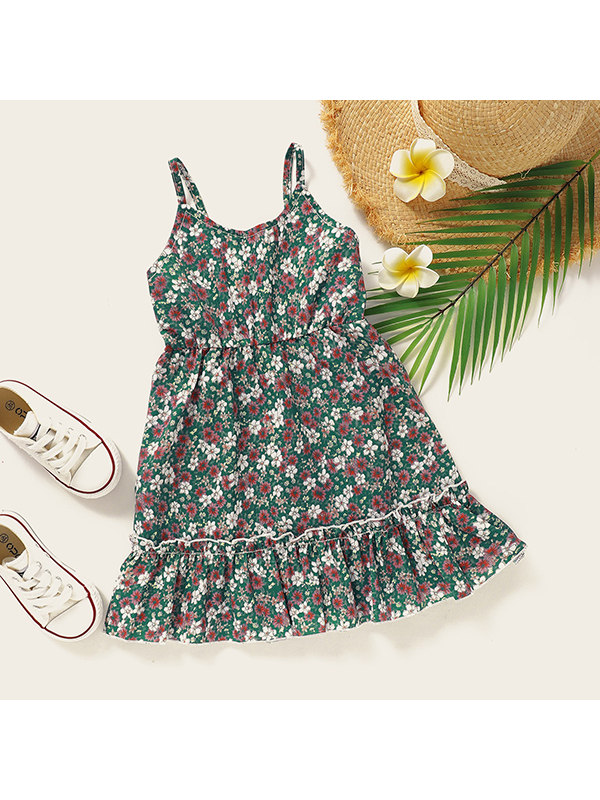 【18M-7Y】Girls Small Floral Sling Dress