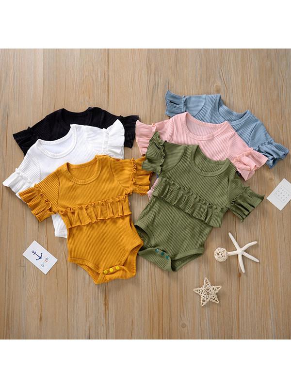 【6M-3Y】Girls Short-sleeved Pullover Wrap Hip Romper