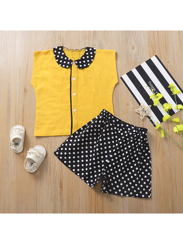 【18M-7Y】Girls Doll Collar Single-breasted Contrasting Top with Polka Dot Shorts Casual Suit
