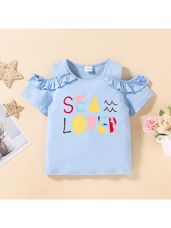 【18M-7Y】Girls Short-sleeved Off-shoulder Letter Printed T-shirt