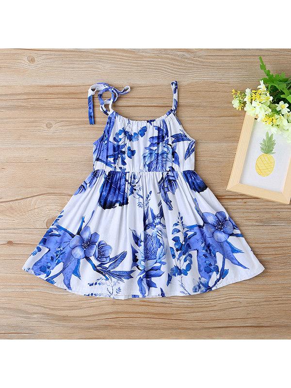 【6M-3Y】Girls Flower Print Sling Dress