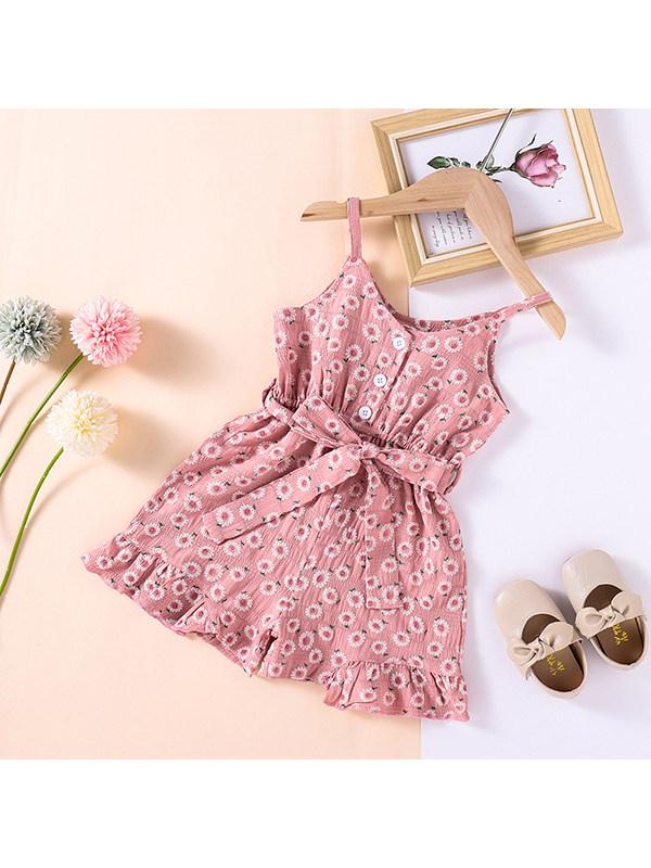【18M-7Y】Girls V-neck Sling Floral Lace Jumpsuit
