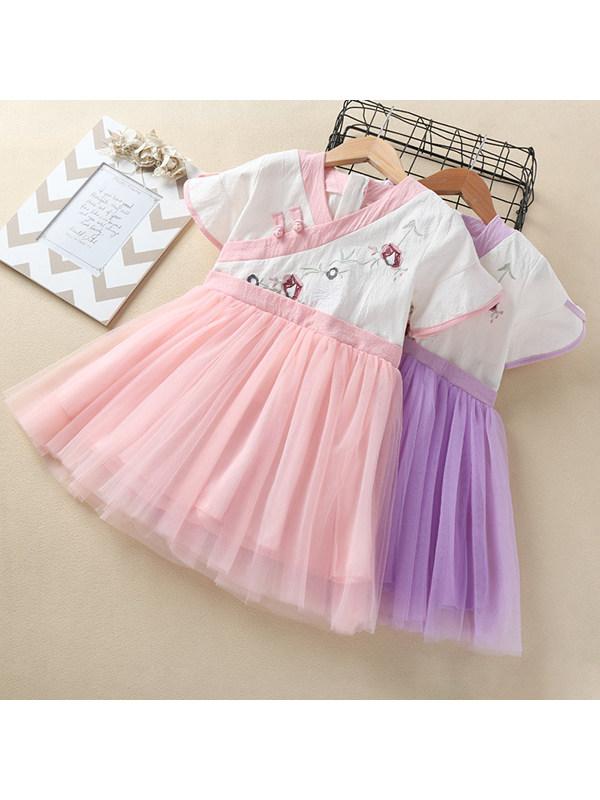 【3Y-11Y】Girls Embroidered V-neck Short-sleeved Mesh Dress
