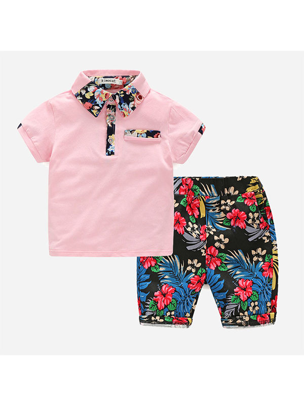 【2Y-9Y】Boys Print Short Sleeve Two-piece Suit