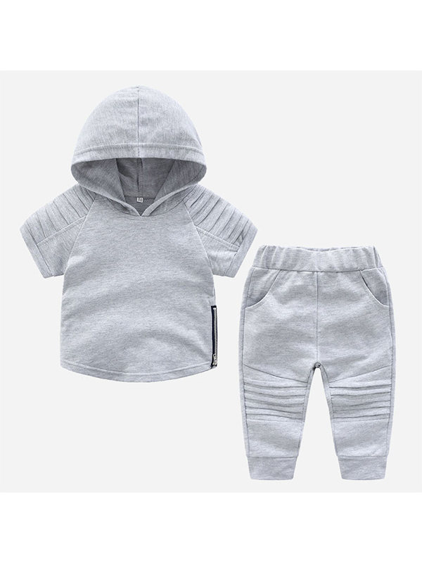 【12M-5Y】Boys Short-sleeved Hooded Trendy Casual Sports Pants Two-piece Suit