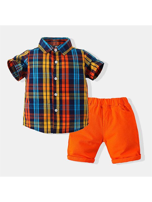 【2Y-9Y】Boys Short-sleeved Plaid Shirt Two-piece Set